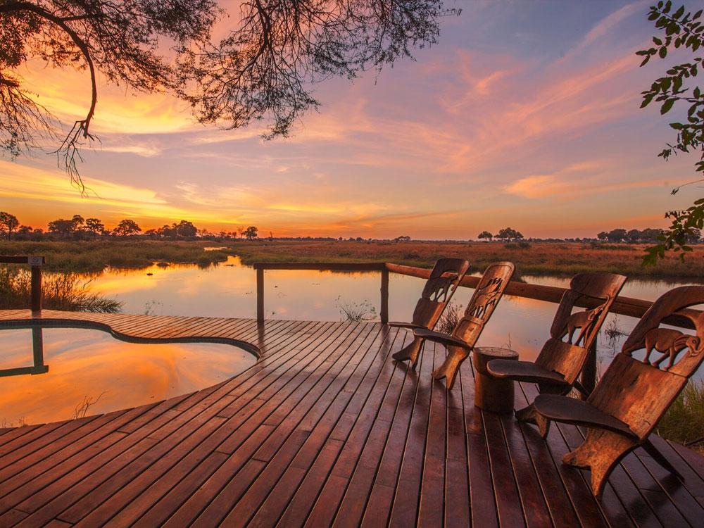 Lagoon Camp Terrasse Sonnenuntergang