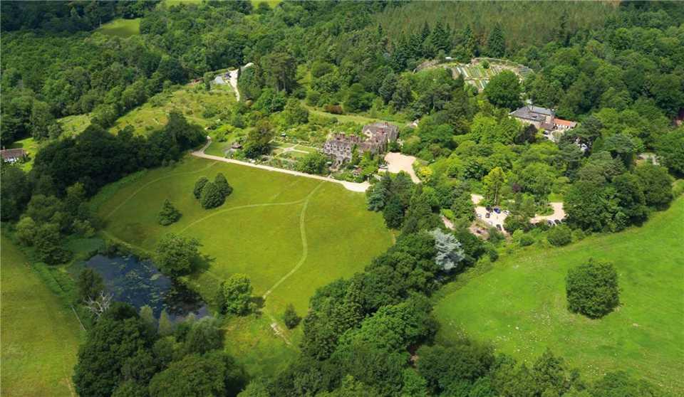 Gravetye Manor Anwesen von oben