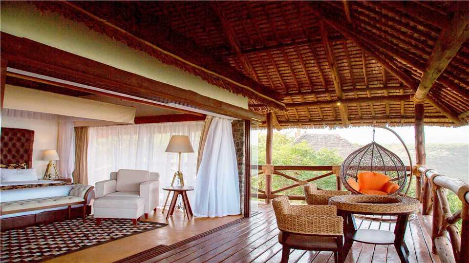 Lake Manyara Kilimamoja Lodge Terrasse vom Zimmer