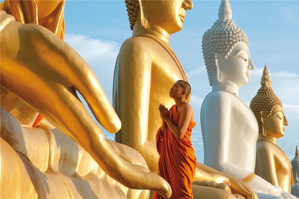 Thailand Mönch in Ayutthaya