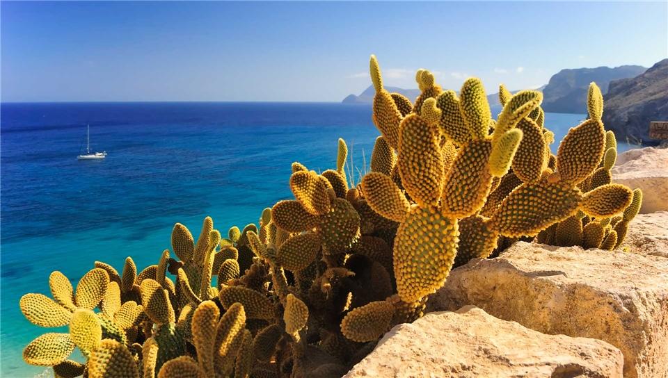 Italien Blick auf das Mittelmeer bei Taormina