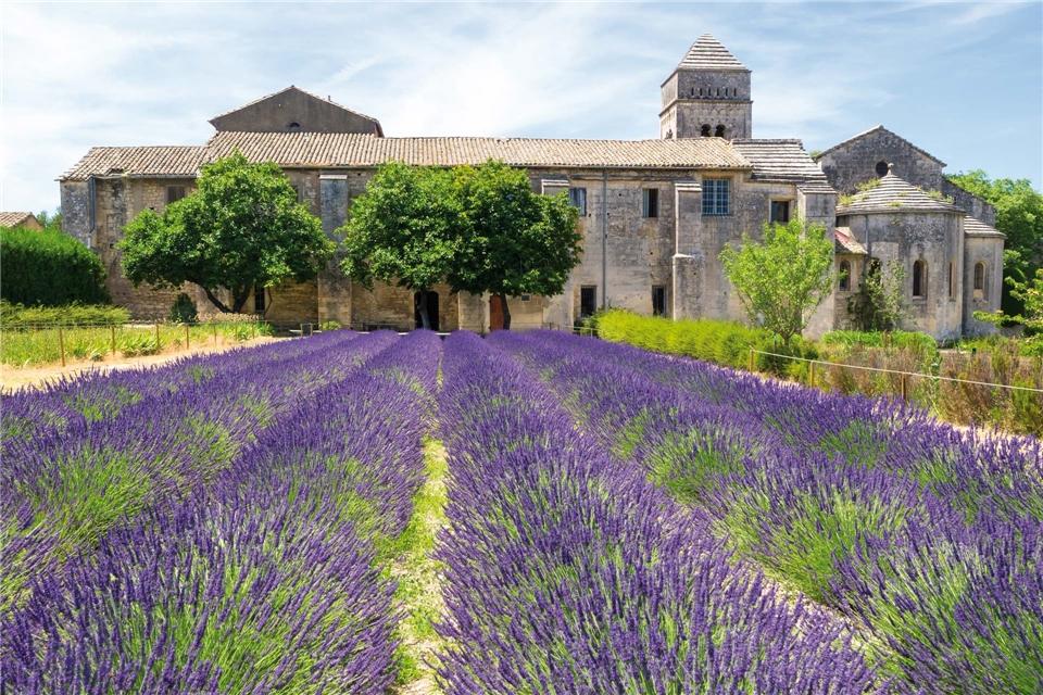Frankreich Abtei St. Paul de Mausole umgeben von Lavendel