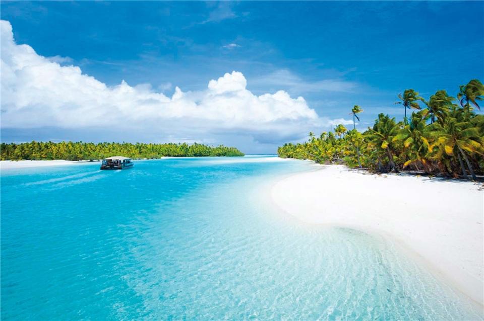 Franzoesisch-Polynesien Strand auf den Cookinseln