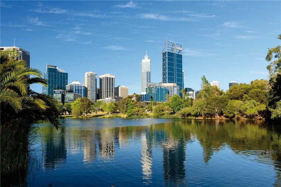 Australien Panoramablick auf die Skyline von Perth