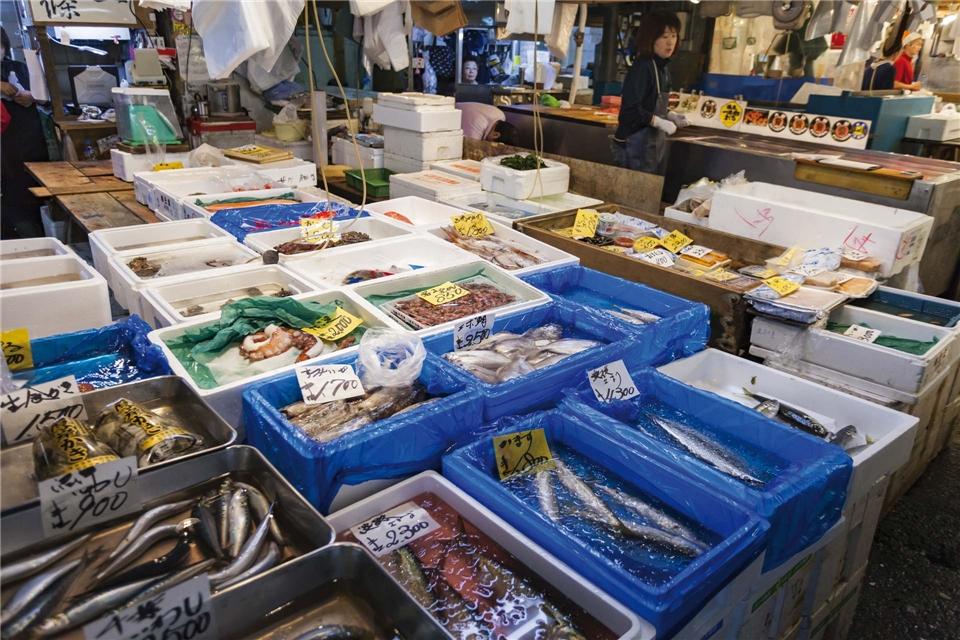Japan Faszinierende Einblicke Marktstand mit Fisch