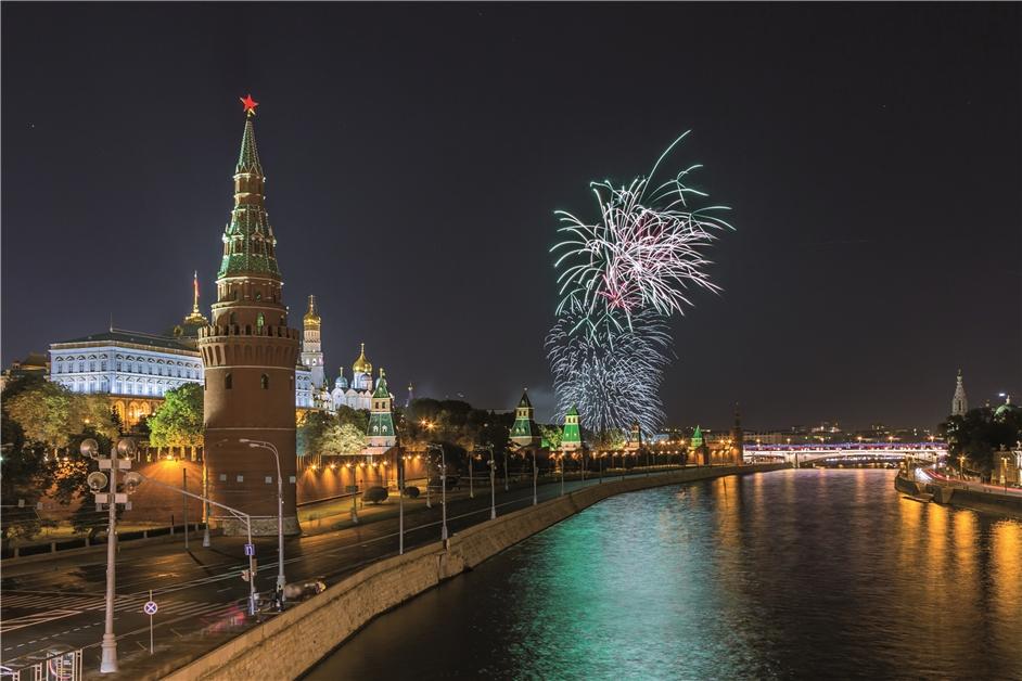 Moskau Feuerwerk über Moskau