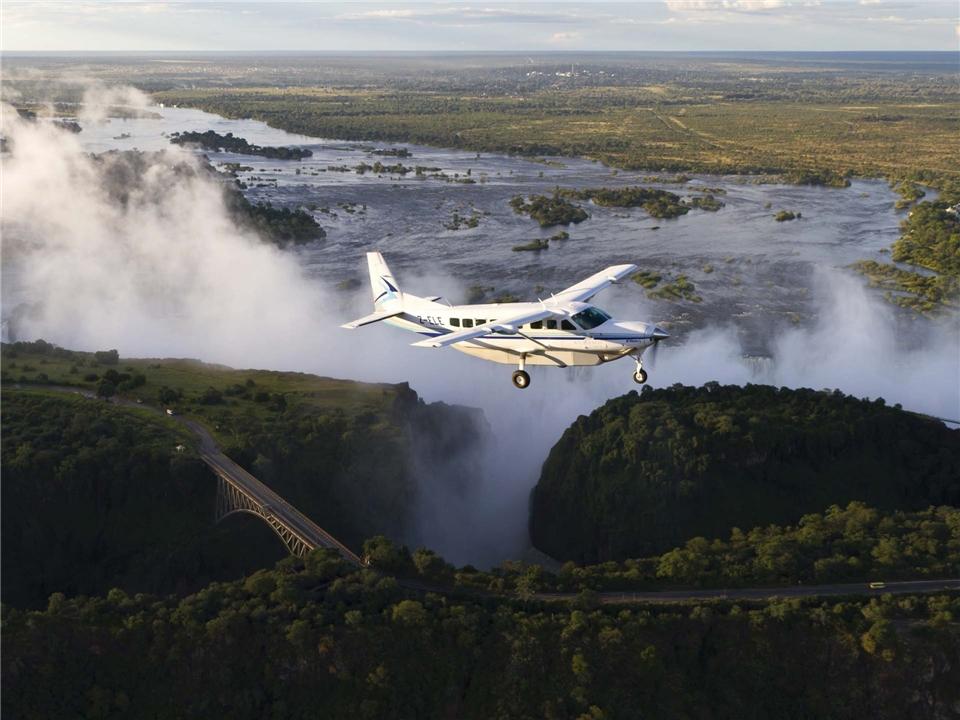 Botswana Überflug der Victoriafälle